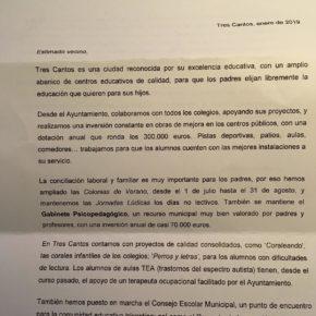 Ciudadanos (Cs) Tres Cantos denuncia el uso partidista de los medios del Ayuntamiento por parte del alcalde